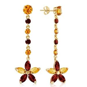 CHANDELIERS EARRINGS WITH CITRINES & GARNETS